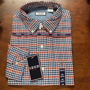 Izod Mens Plaid Dress Shirt Long Sleeve
